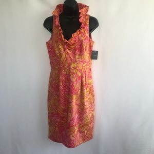 Just Taylor Sleeveless Ruffle VNeck Midi Dress.NWT
